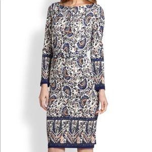 Tory Burch Long Sleeve Chrissy Dress Blue Madura